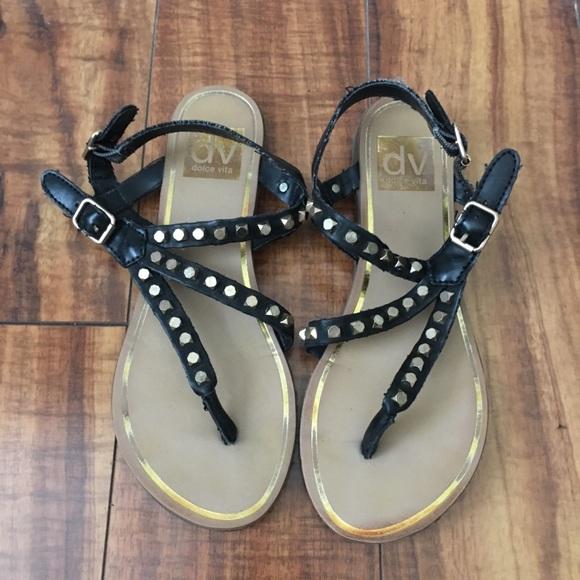 Dolce Vita Shoes - Dolce Vita Black Leather Stud Sandals